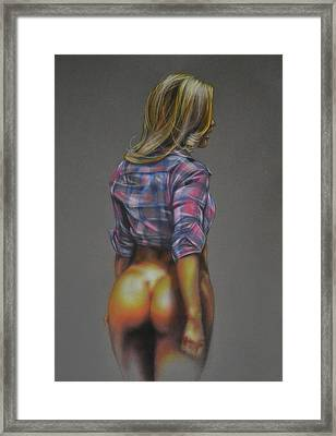 Semi-nude Pin Up Girl With Plaid Shirt Framed Print