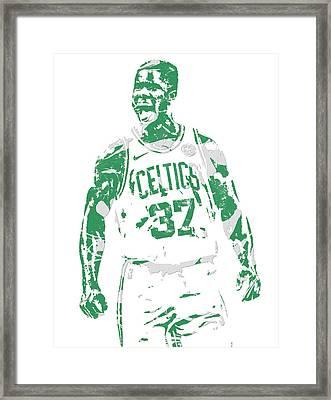 Semi Ojeleye Boston Celtics Pixel Art 1 Framed Print