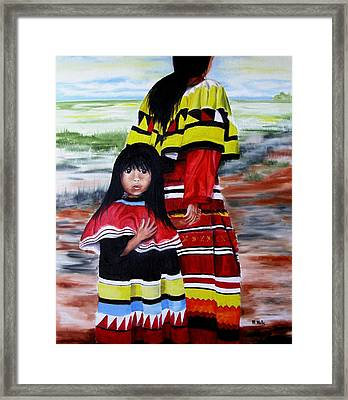 Seminole Mother And Child Framed Print