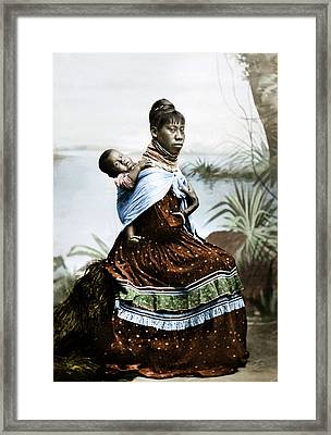 Seminole Woman & Child Framed Print by Granger