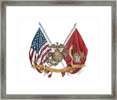 Semper Fidelis Crossed Flags Framed Print