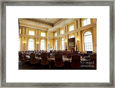 Senate Chamber At The Maine Capitol In Augusta Framed Print by Olivier Le Queinec