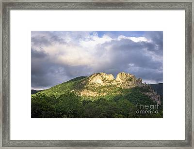 Seneca Rocks With Clouds Framed Print by Dr Regina E Schulte-Ladbeck
