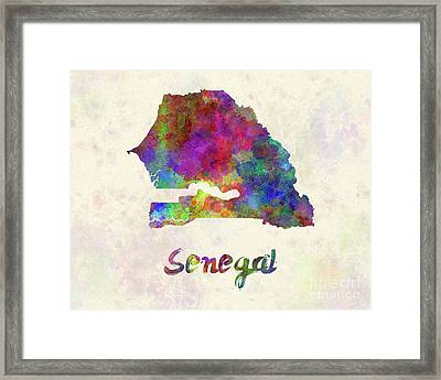 Senegal In Watercolor Framed Print by Pablo Romero