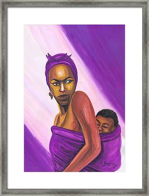 Framed Print featuring the painting Senegalese Woman by Emmanuel Baliyanga