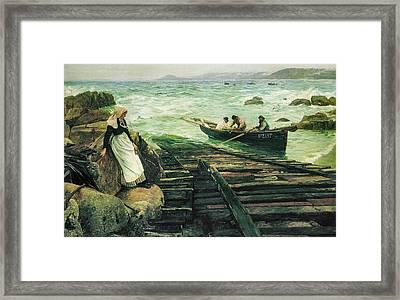 Sennen Cove 1886  Framed Print by Charles Napier Hemy