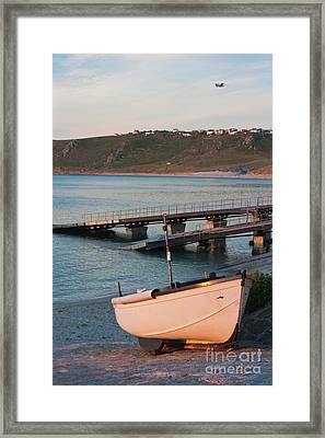 Sennen Cove Boat At Sunset Framed Print by Terri Waters