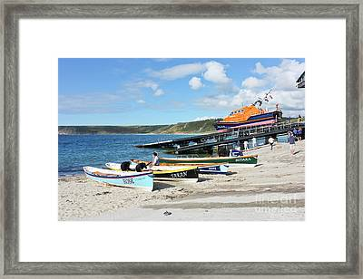 Sennen Cove Lifeboat And Pilot Gigs Framed Print by Terri Waters