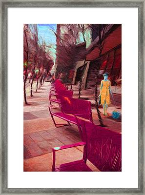 Senoidal Perspective With A Lady And Her Dog Framed Print