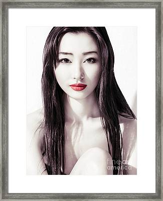 Sensual Beauty Portrait Of Young Asian Woman Face With Red Lips Framed Print