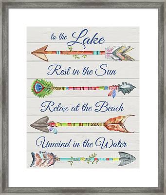 Sentimental Arrows-lake Framed Print by Jean Plout