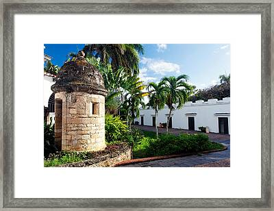 Sentry Post In The Courtyard Framed Print by George Oze