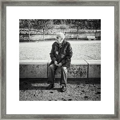 Señor With His Leaf #blackandwhite Framed Print