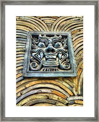 Seoul Mask Tile Framed Print by Michael Garyet
