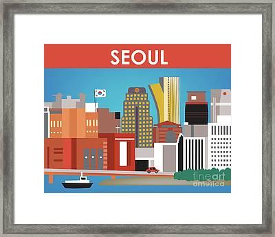 Seoul South Korea Horizontal Skyline Framed Print
