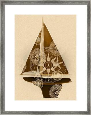 Sepia Boat Framed Print by Frank Tschakert