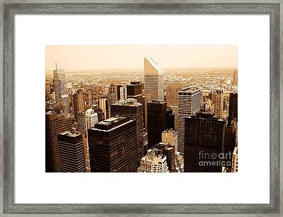 Sepia Citicorp Aerial Framed Print by Allan Einhorn
