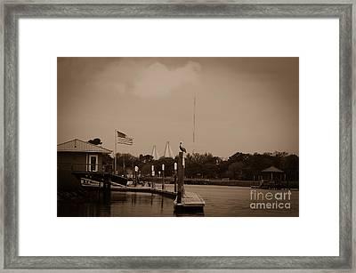 Sepia Dockside On Shem Creek Framed Print