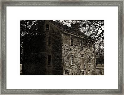 Sepia Farm Deacon Framed Print by Lone Dakota Photography