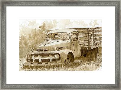 Sepia Ford Truck Sketch Framed Print