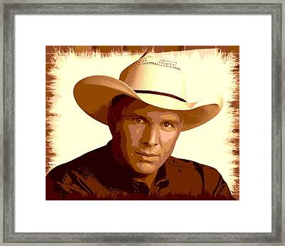 Sepia Garth Brooks Poster Framed Print by Dan Sproul