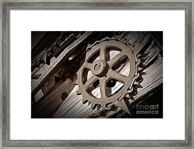 Sepia Gear Wheel Framed Print