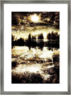 Sepia Lake Sunset Framed Print