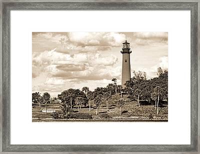 Sepia Lighthouse Framed Print by Rudy Umans