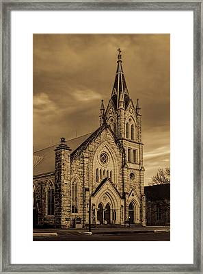 Sepia Limestone Church Framed Print