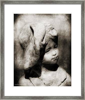 Sepia, Lost In Thought, Little Boy With Hat Garden Statue Framed Print by Melissa Bittinger