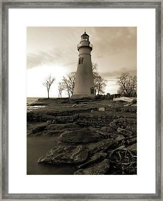 Sepia Marblehead Lighthouse Framed Print