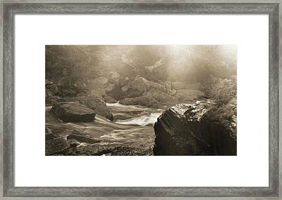 Sepia Moody River Framed Print by Dan Sproul