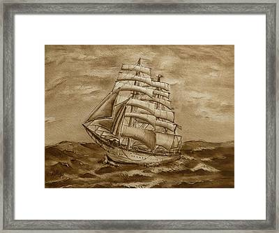 Framed Print featuring the painting Sepia Oceans Fury by Kelly Mills