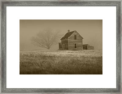 Sepia Of An Abandoned Farm House Framed Print