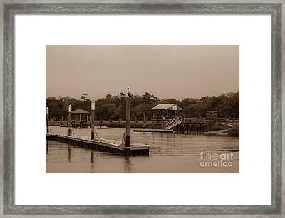 Sepia Of Shem Creek Framed Print