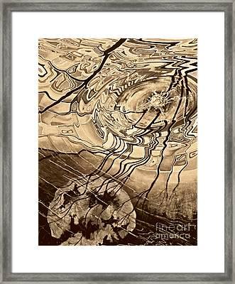 Sepia Ripples Framed Print