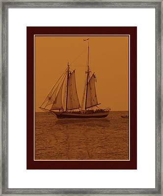 Sepia Sail Boat Framed Print by John Breen