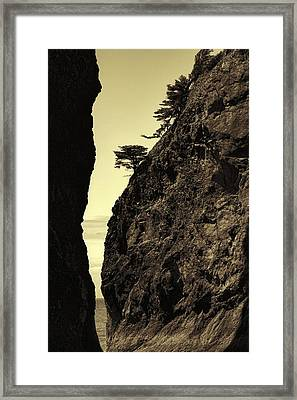 Sepia Sea Stack Contrast Framed Print by Dan Sproul