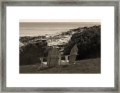 Sepia Seaside Retreat Framed Print by Lone Dakota Photography