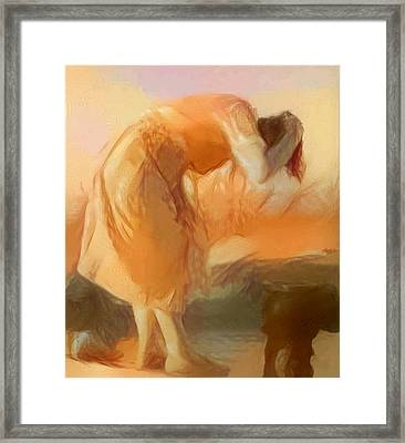 Sepia Sketch Life Drawing Woman Cleaning Hair Bent Over Washing Lake Old Framed Print by MendyZ