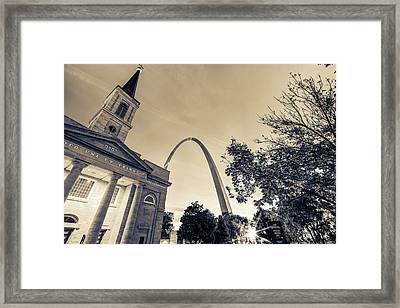 Sepia Sunrise - Downtown Saint Louis Gateway Arch And Old Cathedral Framed Print by Gregory Ballos