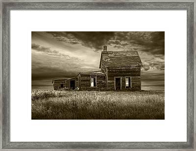 Sepia Tone Of Abandoned Prairie Farm House Framed Print