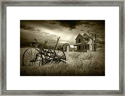 Sepia Tone Of The Decline Of The Small Farm Framed Print