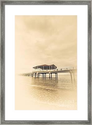 Sepia Toned Image Of A Vintage Marine Pier Framed Print