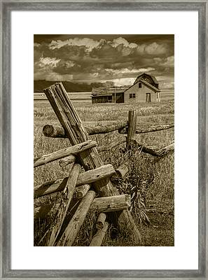 Sepia Toned Photograph Of A Wood Fence Mormon Row By The John Moulton Farm Framed Print