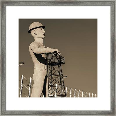 Framed Print featuring the photograph Sepia Tulsa Driller - Oklahoma by Gregory Ballos