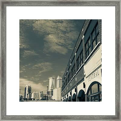 Sepia Tulsa Oklahoma Skyline Square Framed Print by Gregory Ballos