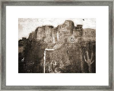 Sepia Version Of Mesa Painting Framed Print by Anne-Elizabeth Whiteway