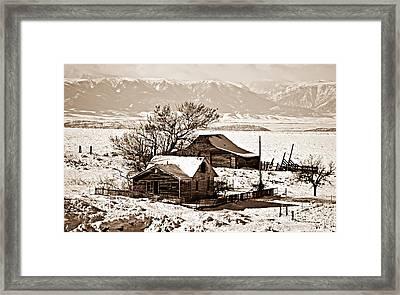 Sepia Winter Postcard Greeting Framed Print