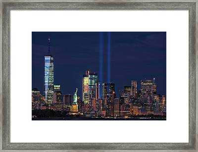 September 11tribute In Light Framed Print